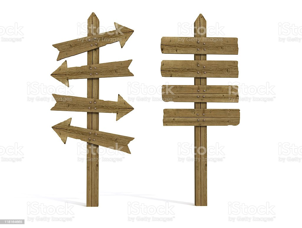 two old wooden sign post stock photo