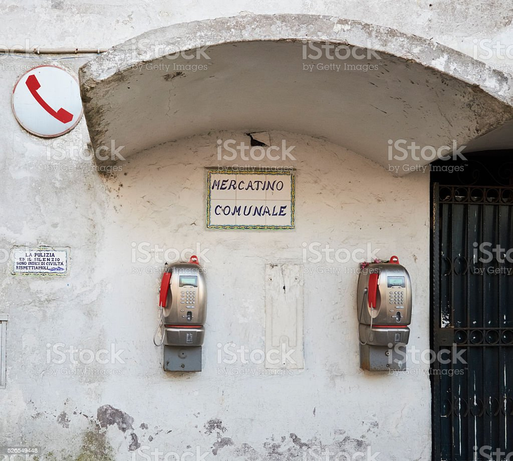 Two old-style public telephones, beautiful yet obsolete stock photo