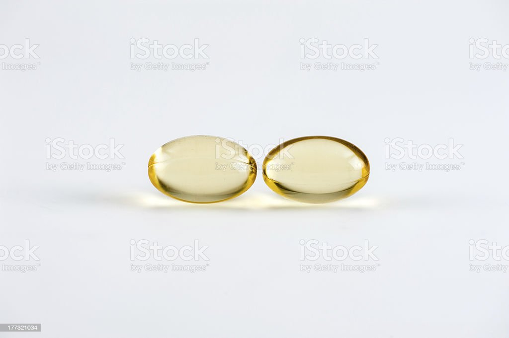 Two Omega-3 Capsules royalty-free stock photo