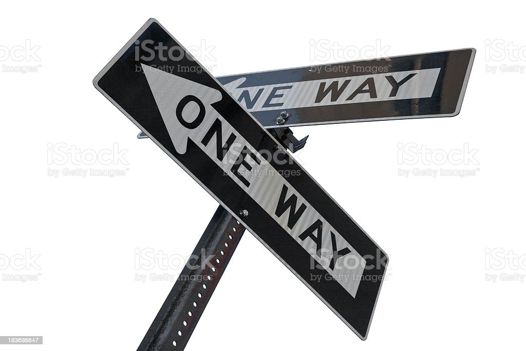 Two 'one way' directional signs at an intersection stock photo