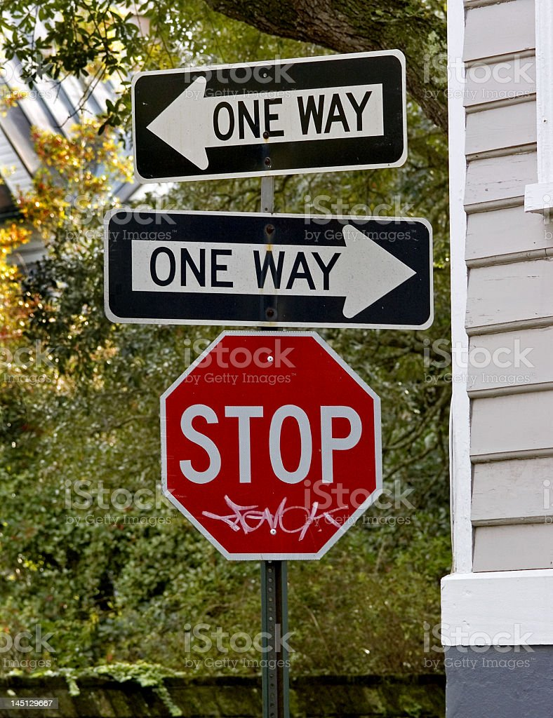 Two One Way Signs in Opposite Directions royalty-free stock photo