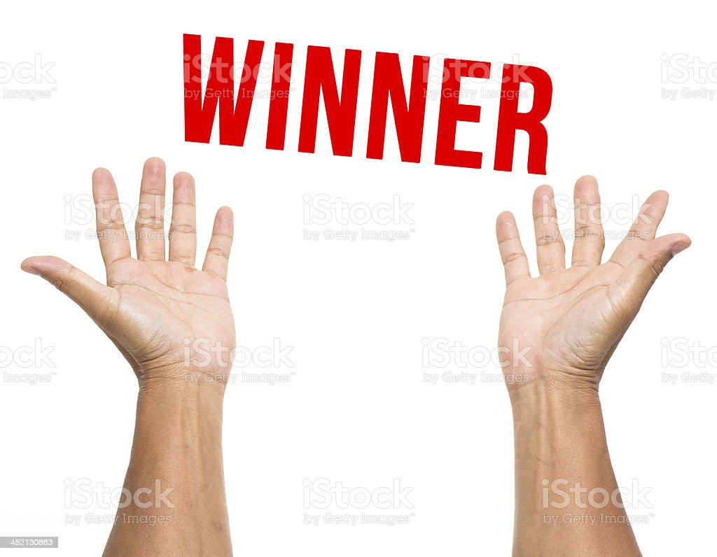 Two open hands with winner isolated on white background stock photo