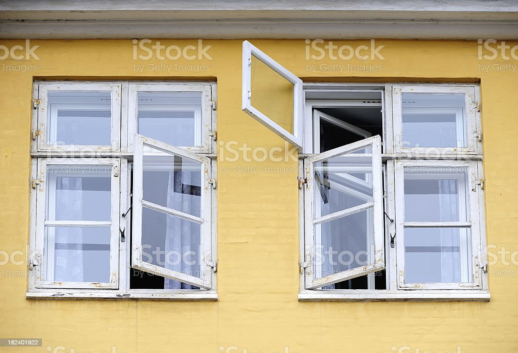 Two open windows stock photo