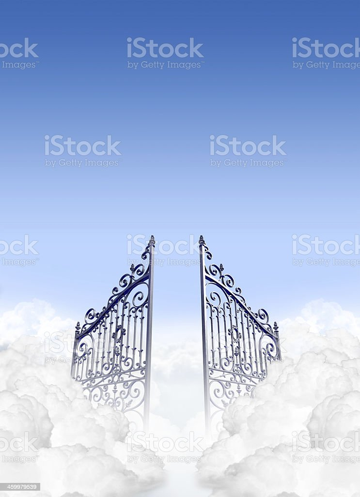 Two opening metal gates in the clouds stock photo