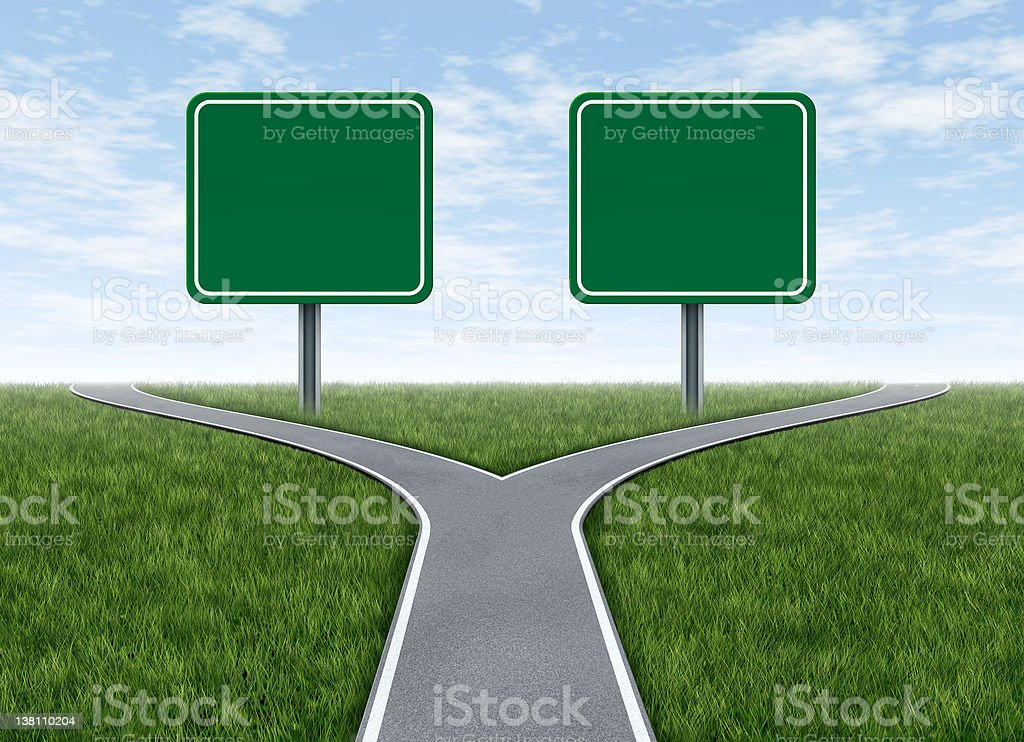 Two options with blank road signs stock photo