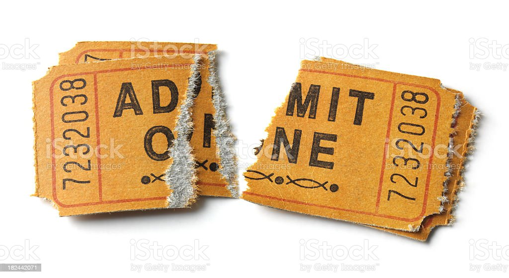 Two Orange Admit One tickets, isolated royalty-free stock photo