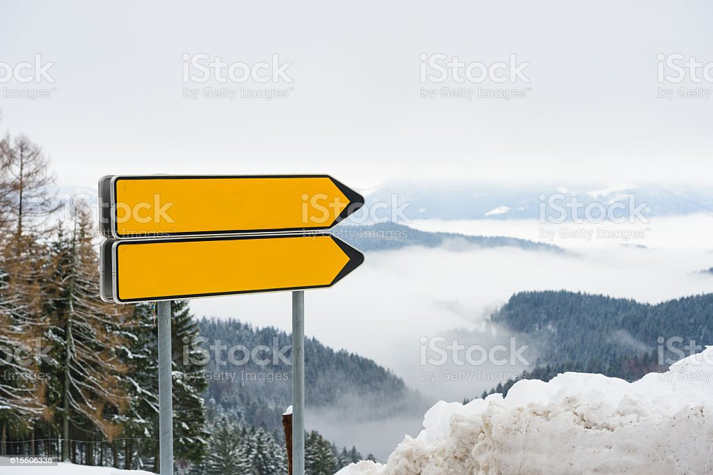 Two Orange Signs stock photo