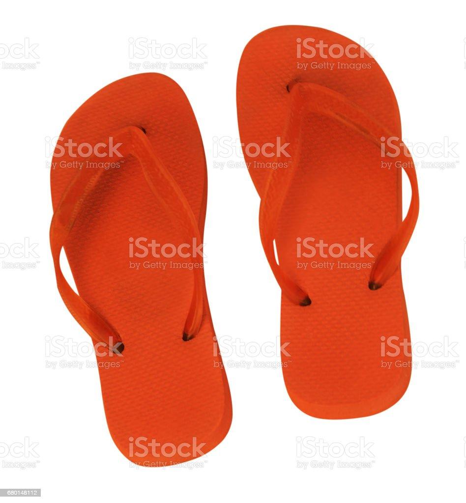 two orange slippers isolated stock photo