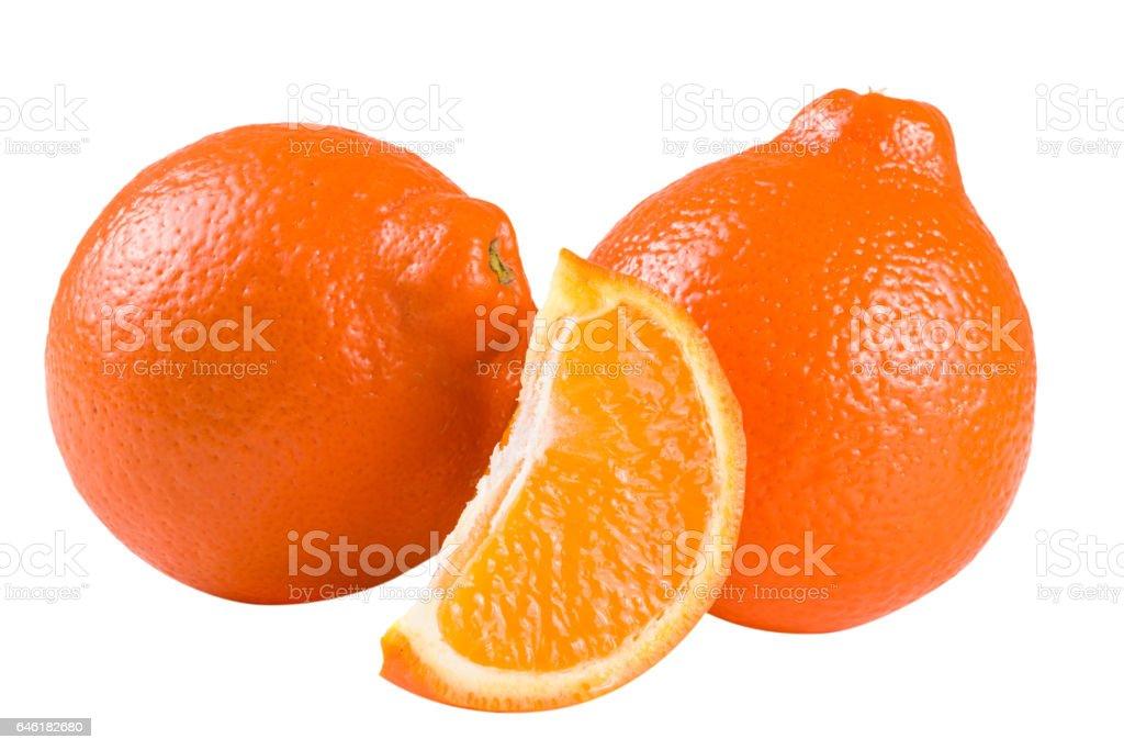 two orange tangerine or Mineola with slice isolated on white background stock photo