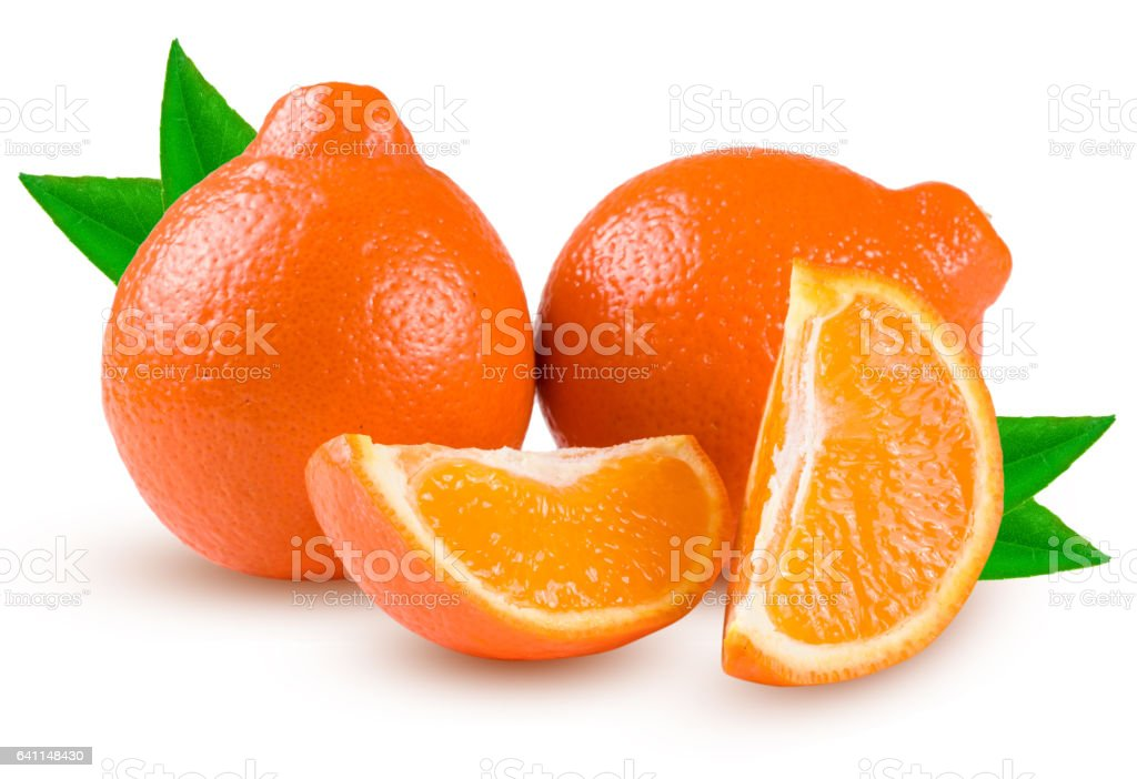 two orange tangerine or Mineola with slices and leaf isolated on white background stock photo