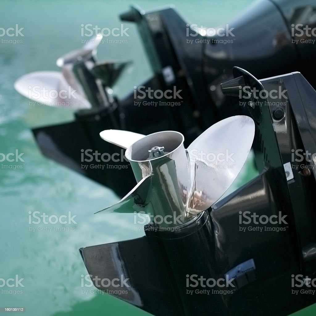 Two outboards stock photo