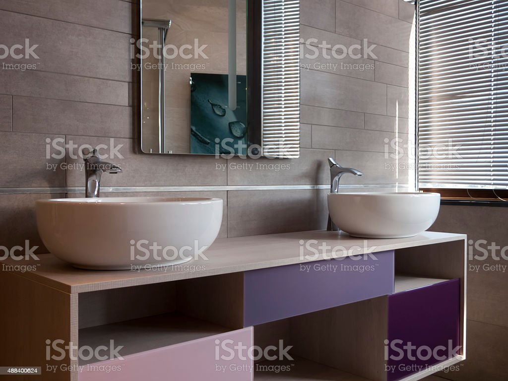 Two Oval Sinks stock photo