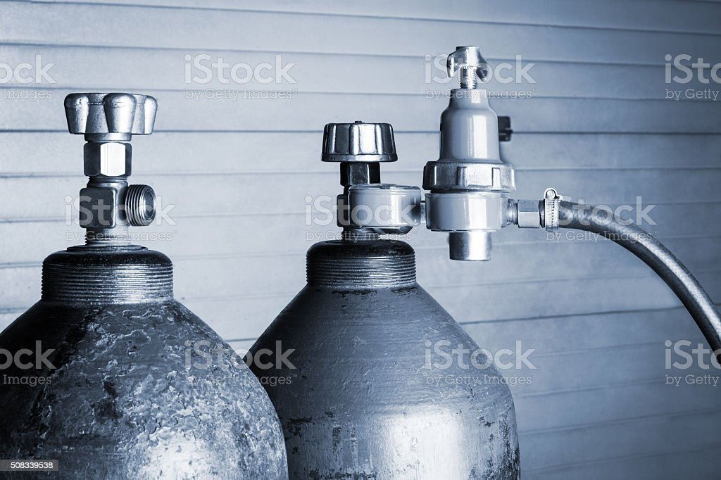 two oxygen cylinders stock photo