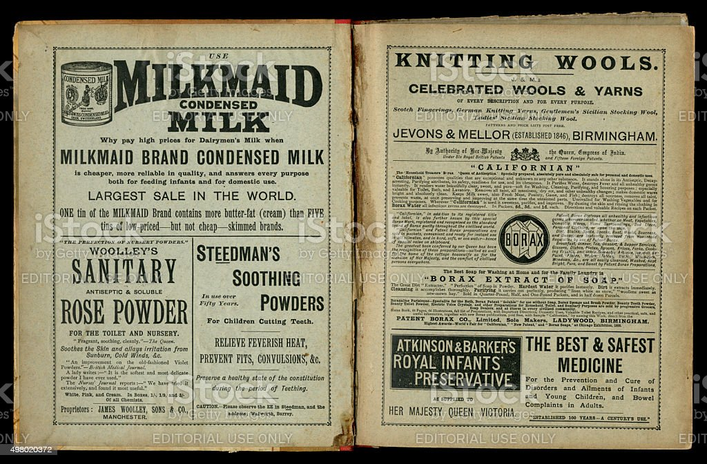 Two pages of 1890s Victorian advertisements stock photo