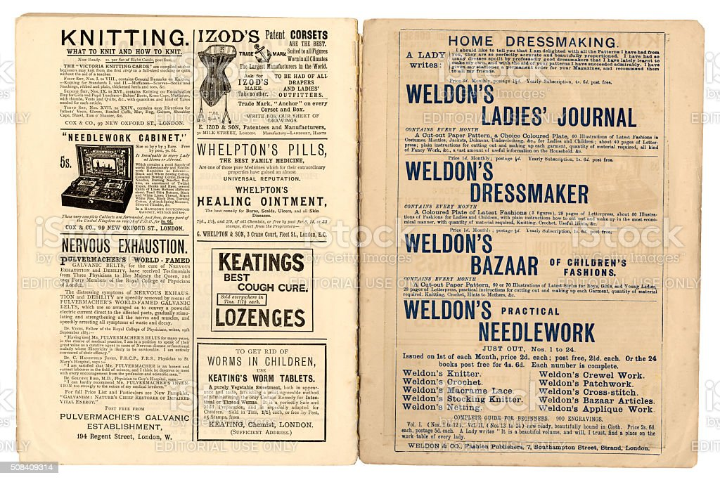 Two pages of Victorian advertisements c1890 stock photo