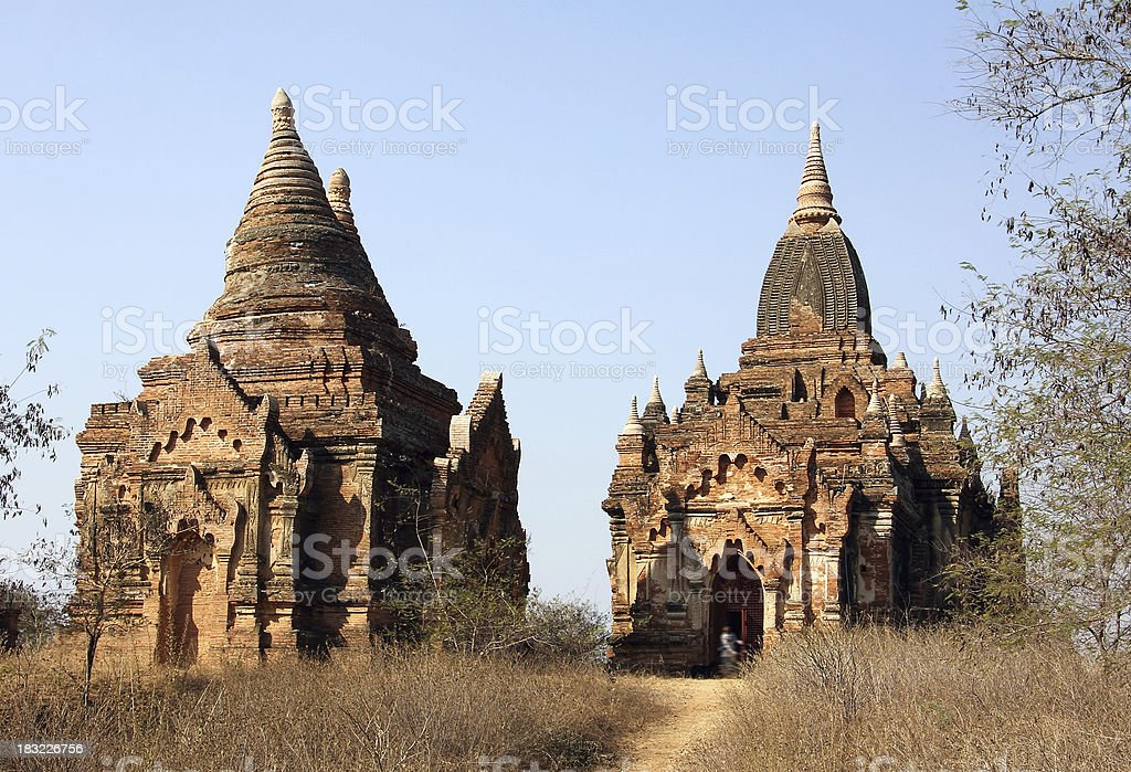 Two pagodas of Bagan royalty-free stock photo