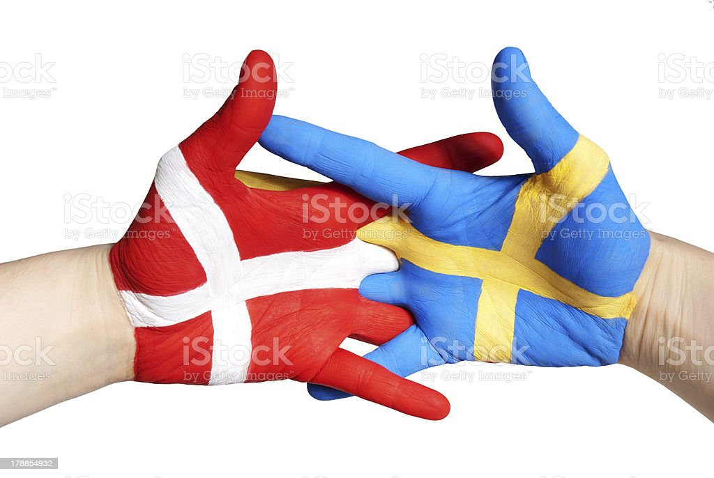 two painted hands royalty-free stock photo