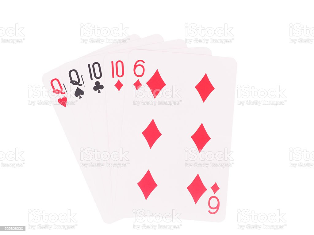 Two pair playing cards isolated on white background. stock photo