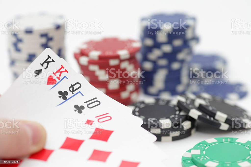 Two pairs hand at poker stock photo