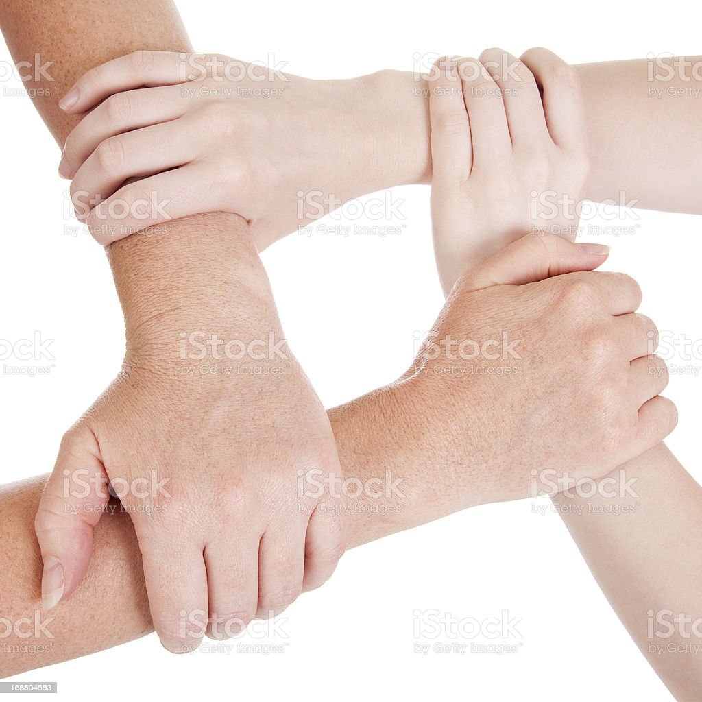 Two pairs of hands united royalty-free stock photo