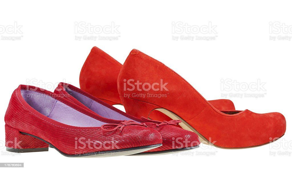 Two pairs of red woman pumps shoes stock photo