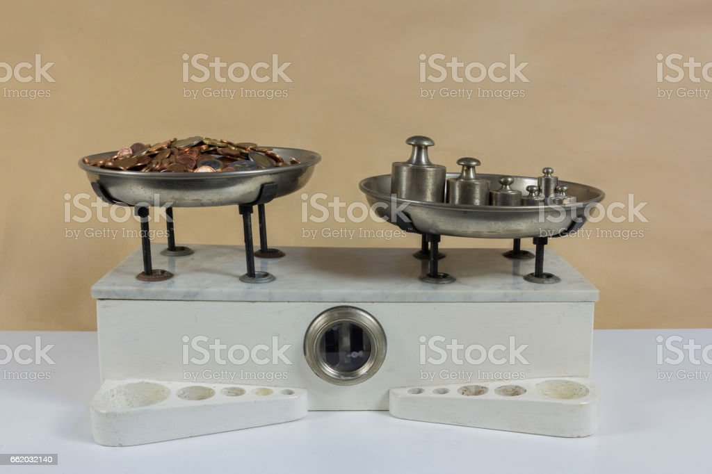 two pan balance stock photo