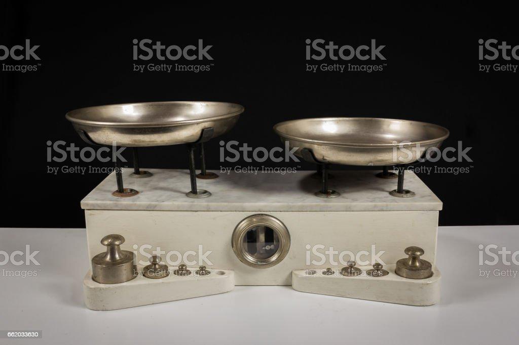 two pan balance stock photo