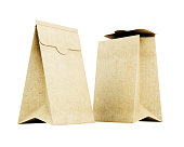 Two paper bag isolated on white background. 3d render image