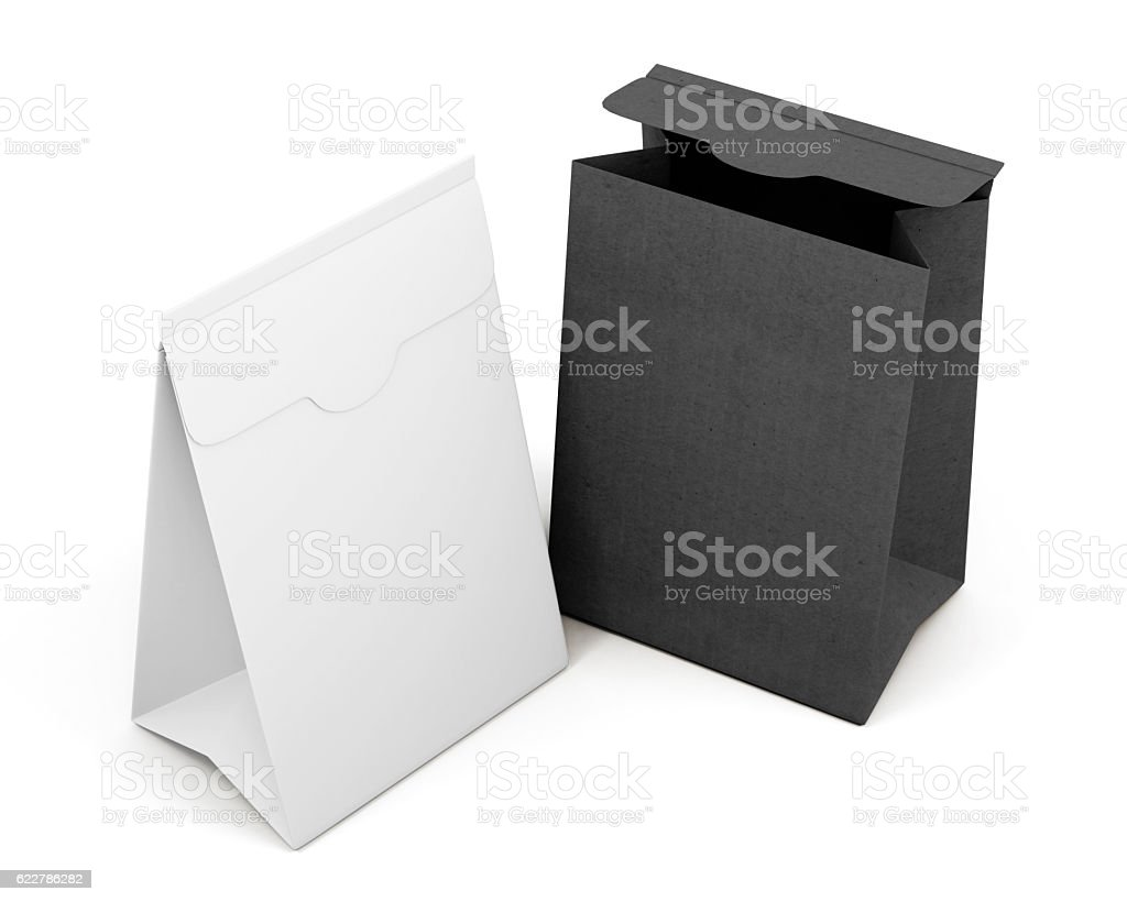 Two paper bag isolated on white background. 3d rendering stock photo