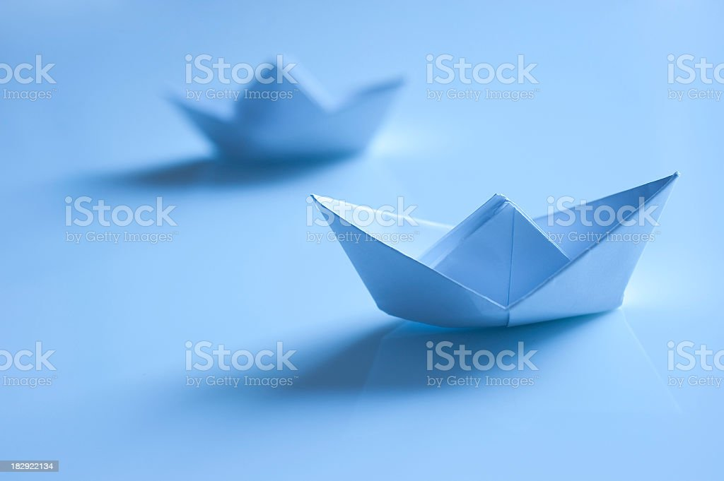 Two Paper Boats In Blue Tone stock photo