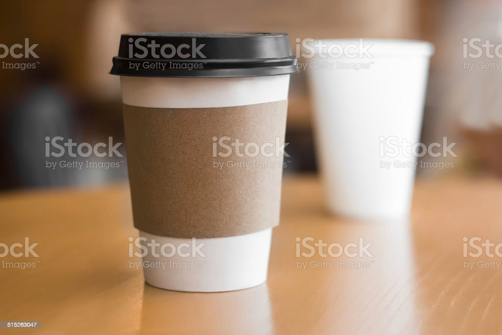 Two paper coffee cups stock photo
