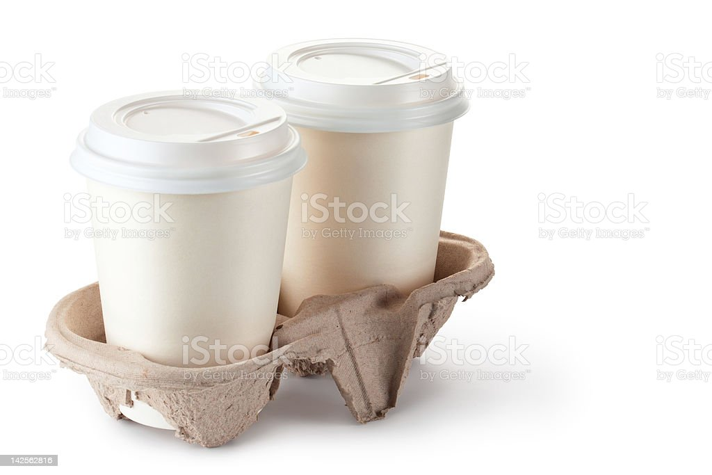 Two paper coffee cups with lids in a cardboard cup holder  royalty-free stock photo