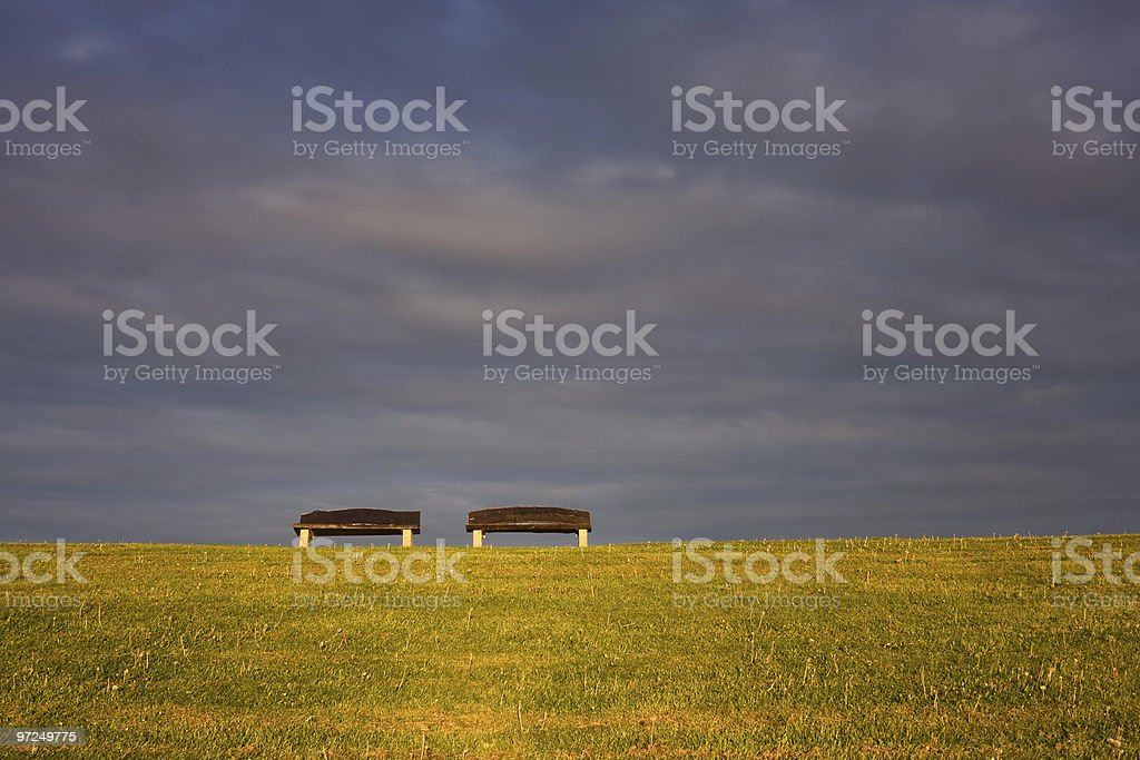 two park-benches royalty-free stock photo