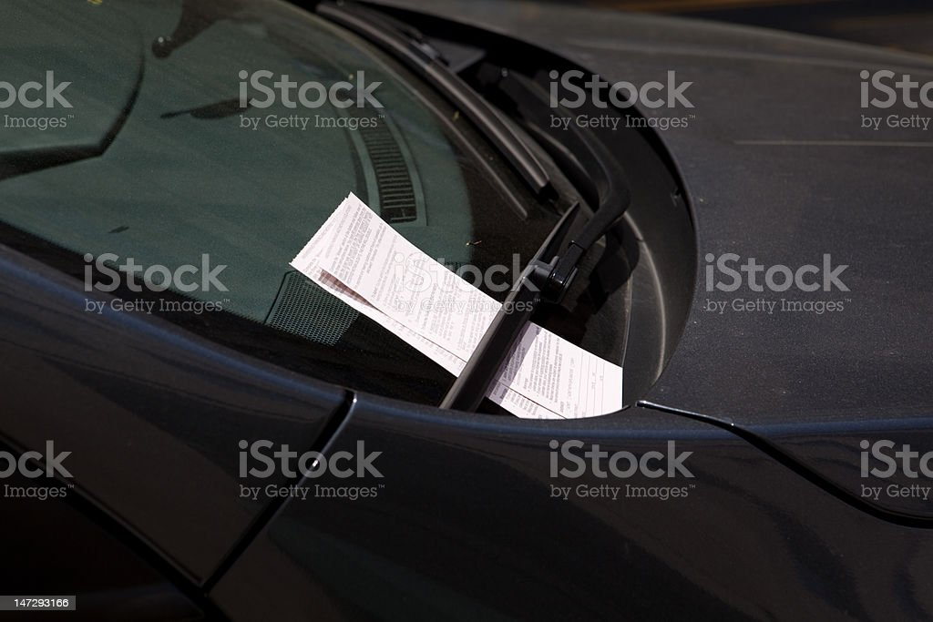 XXXL Two Parking Tickets on Car Windshield stock photo
