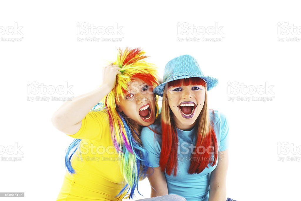 Two party girls screaming. royalty-free stock photo