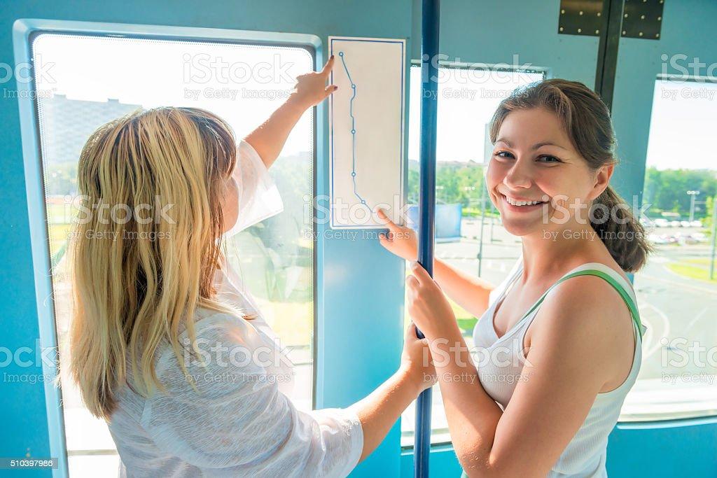 Two passenger of public transport study traffic scheme stock photo