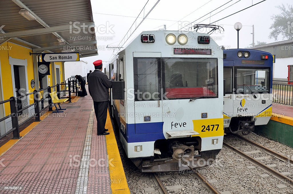 Two passenger trains stand at the station. stock photo