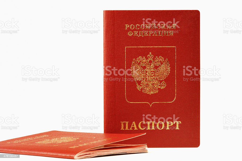 Two passports of foreign, isolated on white background stock photo