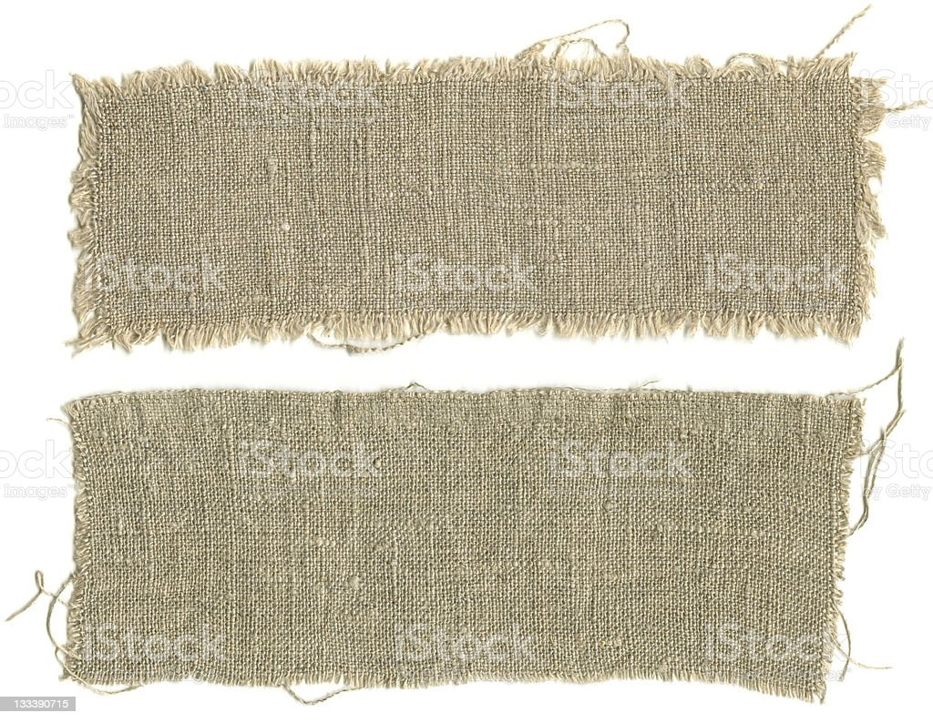 Two patches torn from a burlap sack stock photo
