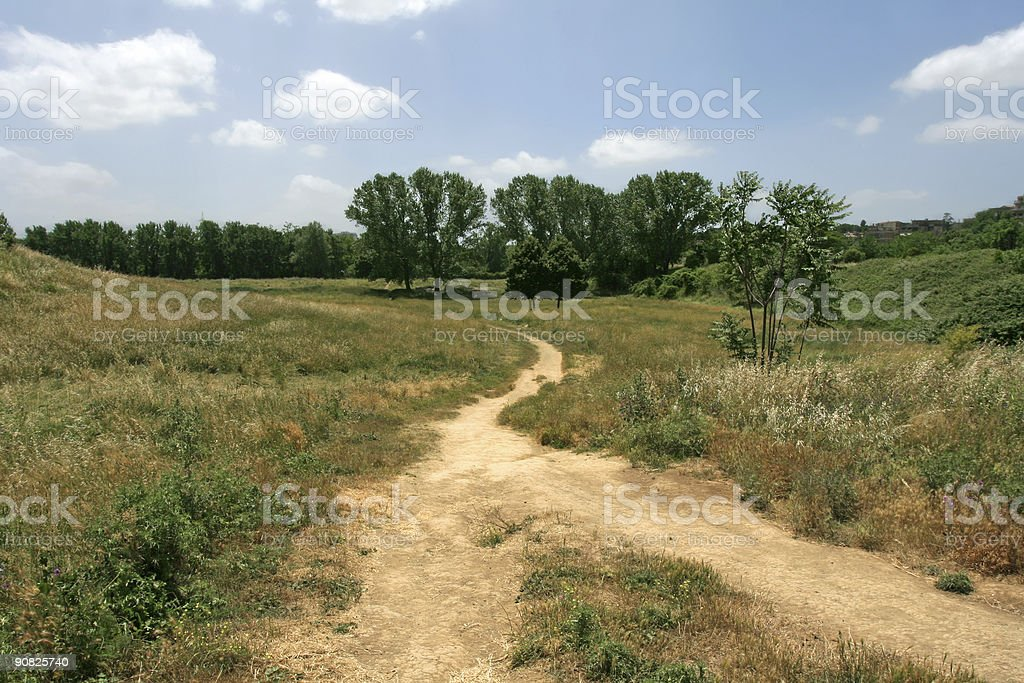 Two paths become one in Rome royalty-free stock photo