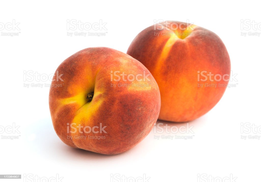 Two Peaches, Fresh Fruit Isolated, Cut Out on White Background royalty-free stock photo