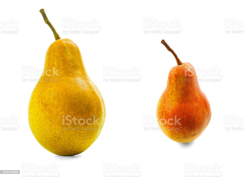 Two pears red and yellow with shadows on white background stock photo