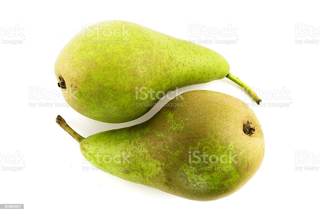 Two pears set up to be a yin and yang symbol stock photo