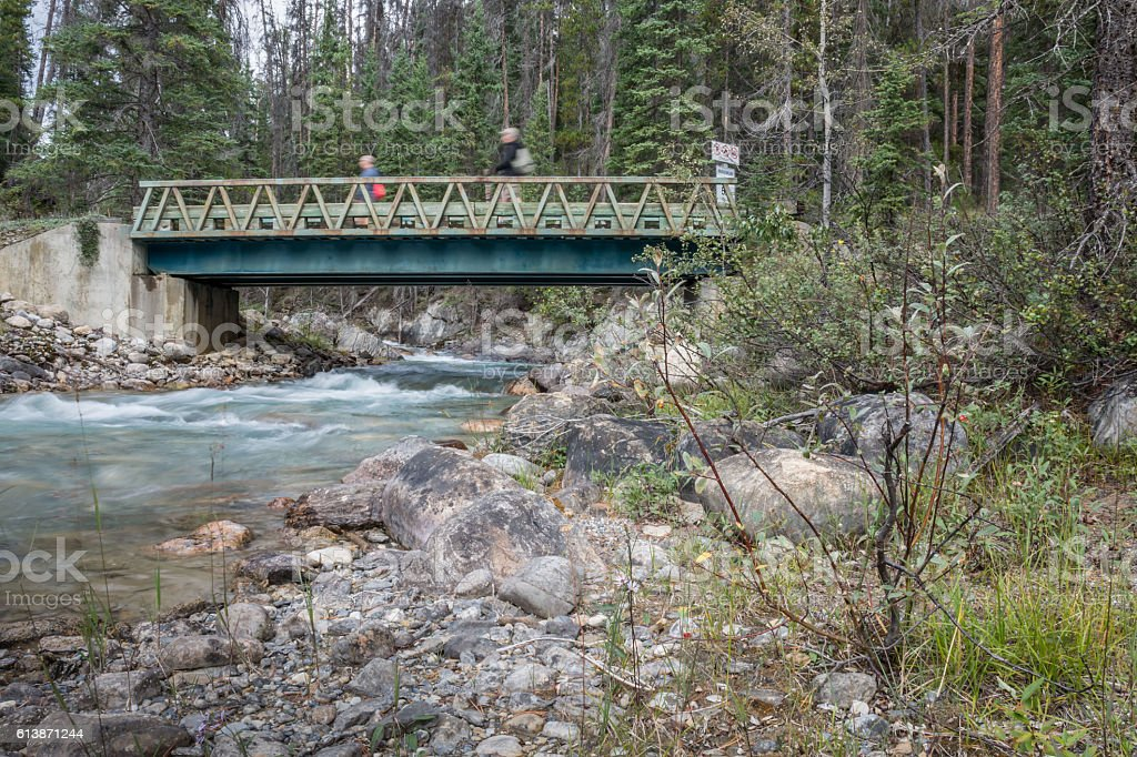 Two People Crossing a Mountain River on a Footbridge stock photo