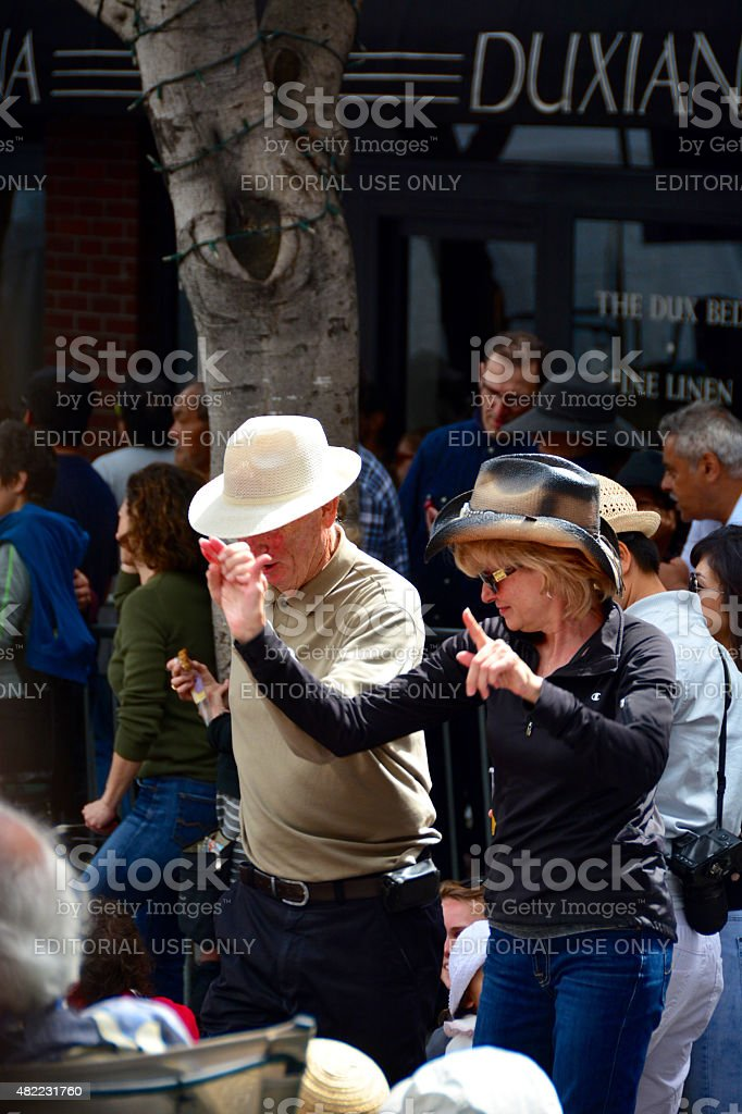 Two people dancing in San Francisco stock photo
