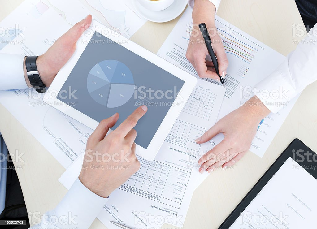 Two people doing market research stock photo