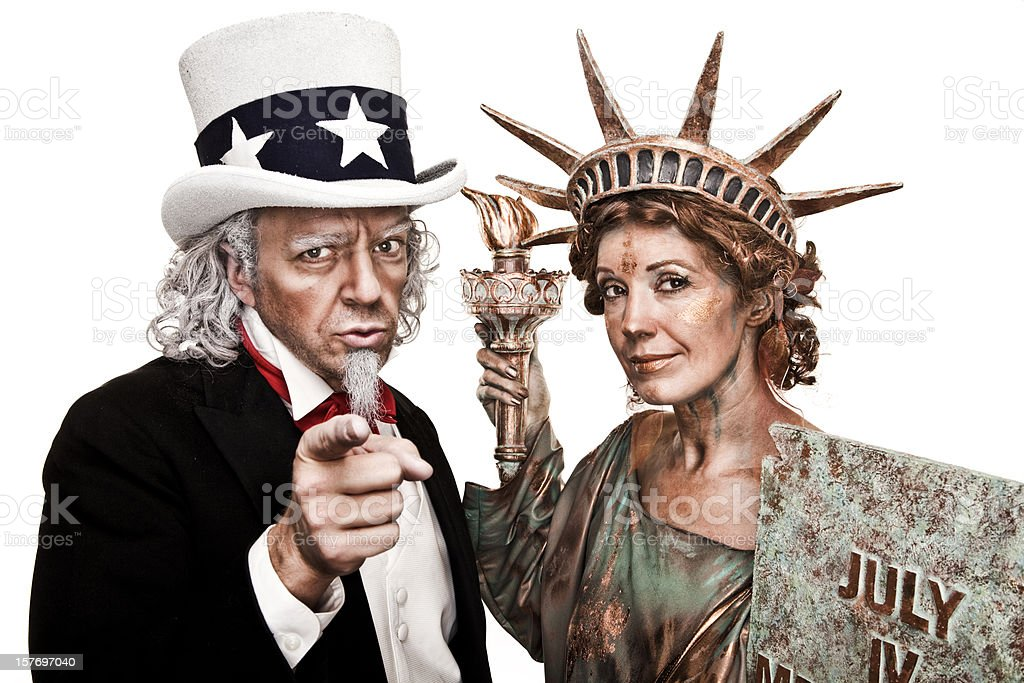 Two people dressed as Uncle Sam and Lady Liberty stock photo