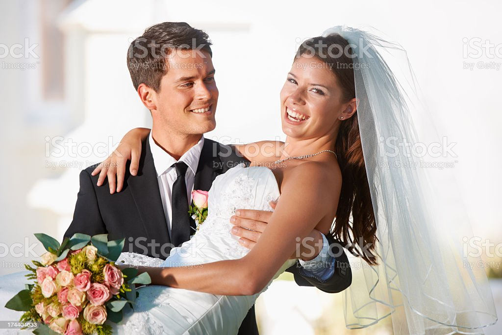 Two people happier would be impossible to find royalty-free stock photo
