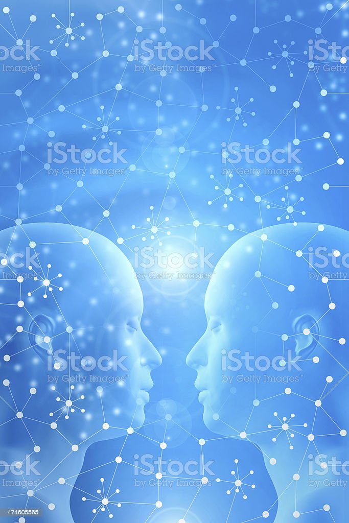 Two people heads almost touching, meditating, contemplating harmony, abstract background royalty-free stock photo