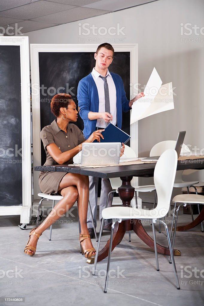 Two people in business meeting stock photo